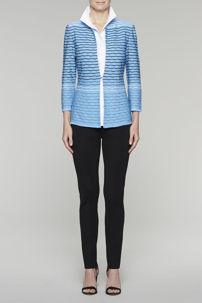 Textured Ripple Jacket Color Bluebonnet/Black/White