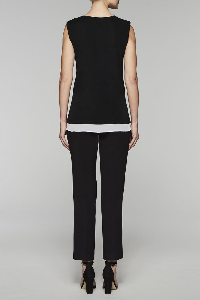 V-Neck Layered Tank Color Black/White