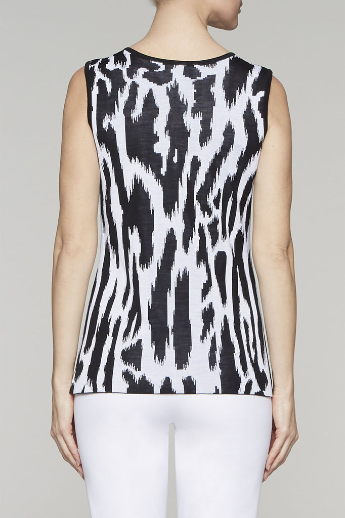 Zebra Scoop Neck Tank Color White/Black