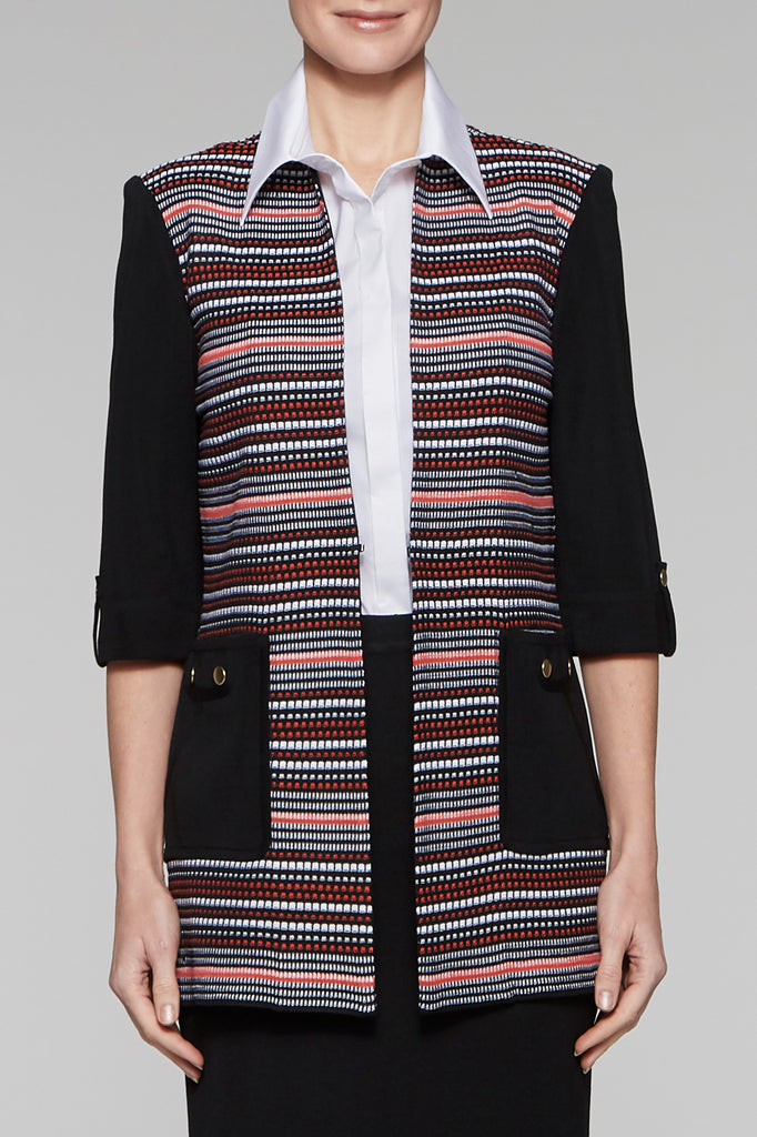 Zinnia Block Pocket Jacket Color Black/White/Zinnia