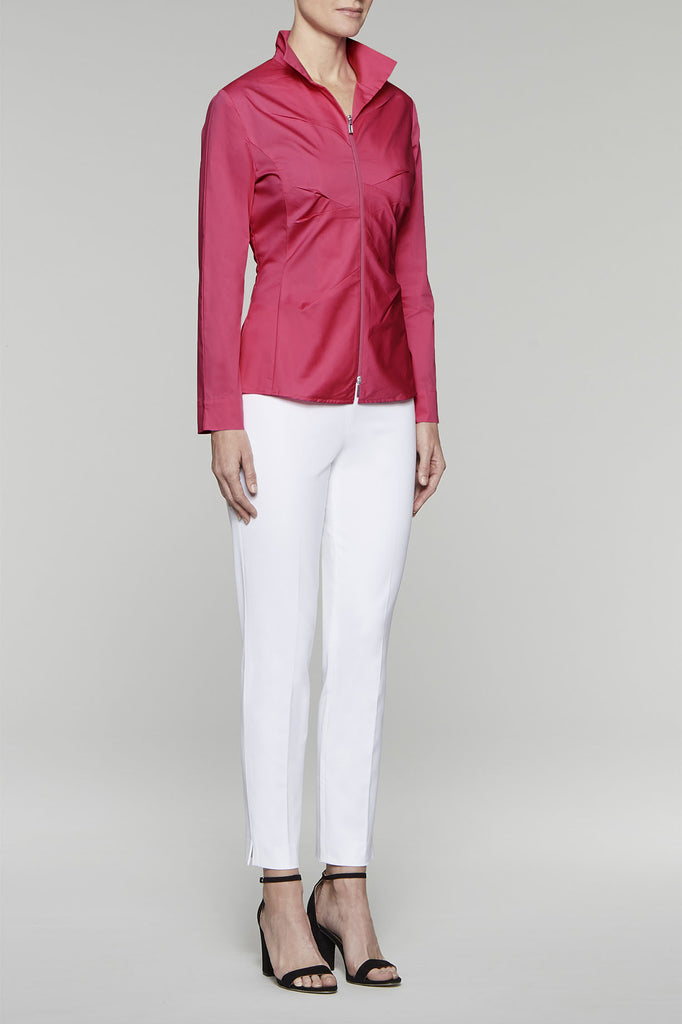Zip-Front Tailored Fit Blouse Color Hibiscus
