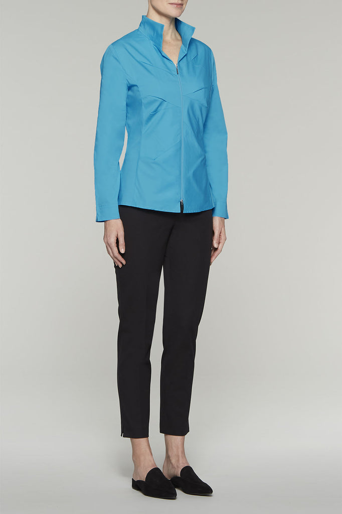 Zip-Front Tailored Fit Blouse Color Ultramarine