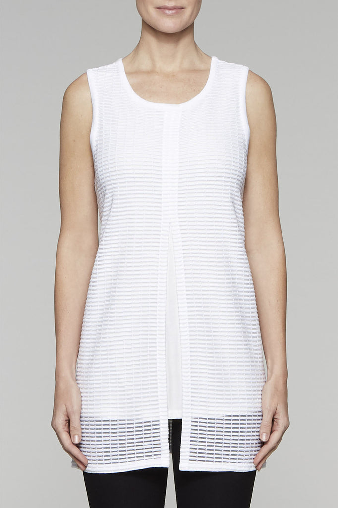 Cage Knit Tank Dress Color White