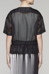 Gathered Waist Net Jacket Color Black/White