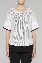 Lace Knit Layered Tunic Color White/Black