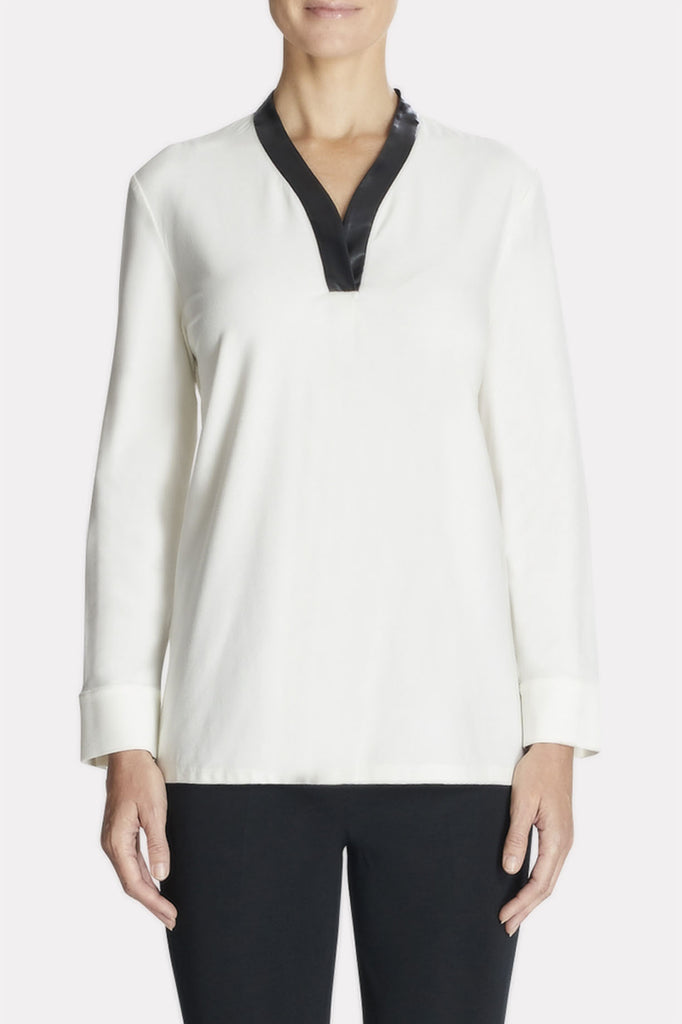 Leather Trimmed Shirt Color White/Black