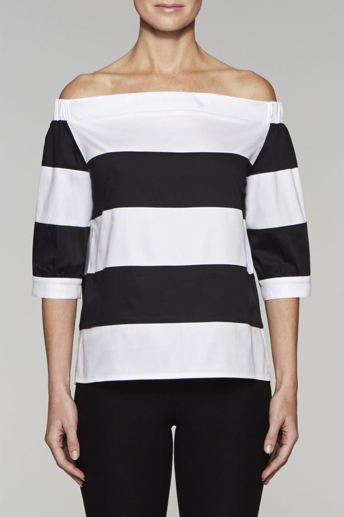 Off-the-Shoulder Striped Top Color White/Black