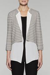 Open Front Cuff Sleeve Cardigan Color Almond Beige/Black/White