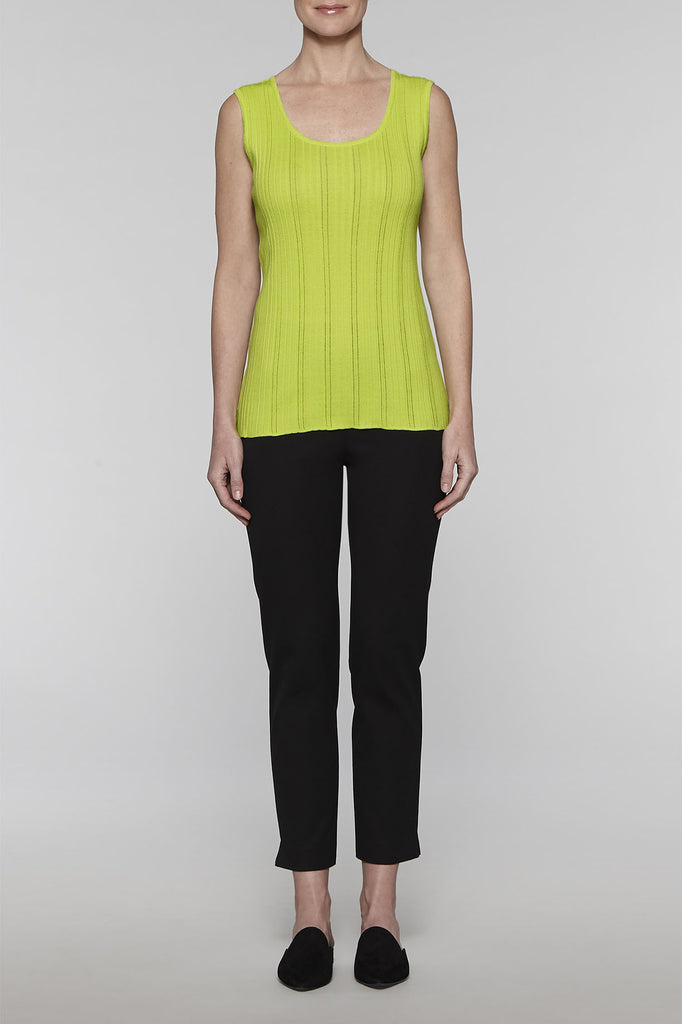 Ribbed Knit Scoop Tank Color Pear