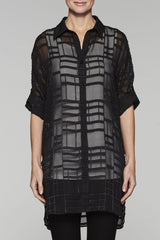 Sheer Cuff-Sleeve Shirt-Jacket Color Black