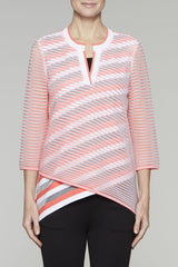 Sheer-Stripe Split-Neck Tunic Color Daylily/White