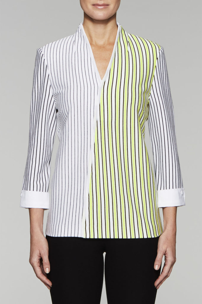 Striped Flyaway Back Tunic Color Pear/Black/White