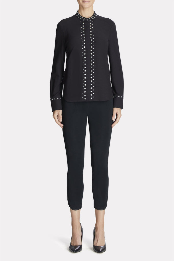 Studded-Trim Shirt Color Black