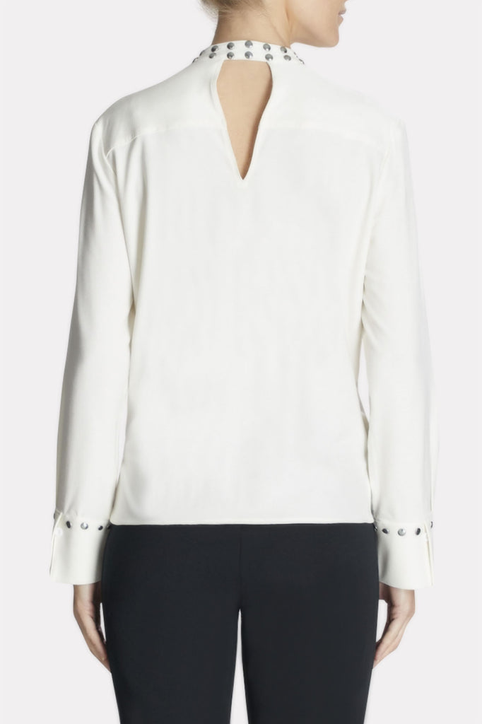 Studded-Trim Shirt Color White