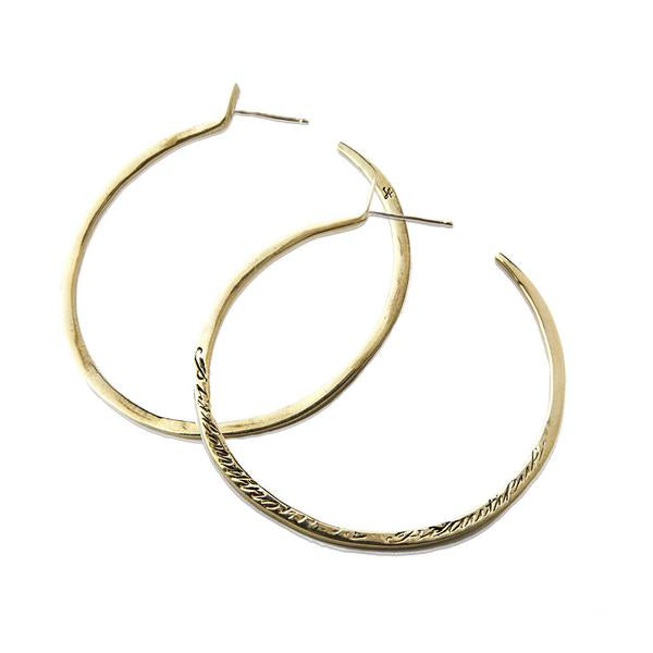 Message Hoop Earrings - Gold