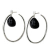 Message Hoop Earrings - Sterling Silver with Heart Shaped Briolette Stones