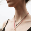 """Open Heart"" Diamond & 23K Gold Vermeil Necklace on Red Silk Cord"