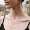 """Open Heart"" Diamond & 23K Gold Vermeil Necklace on Gold Vermeil Chain"