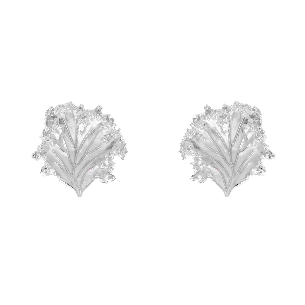 """Kale-ibrate Equality"" Diamond & Sterling Silver Clip Earrings"