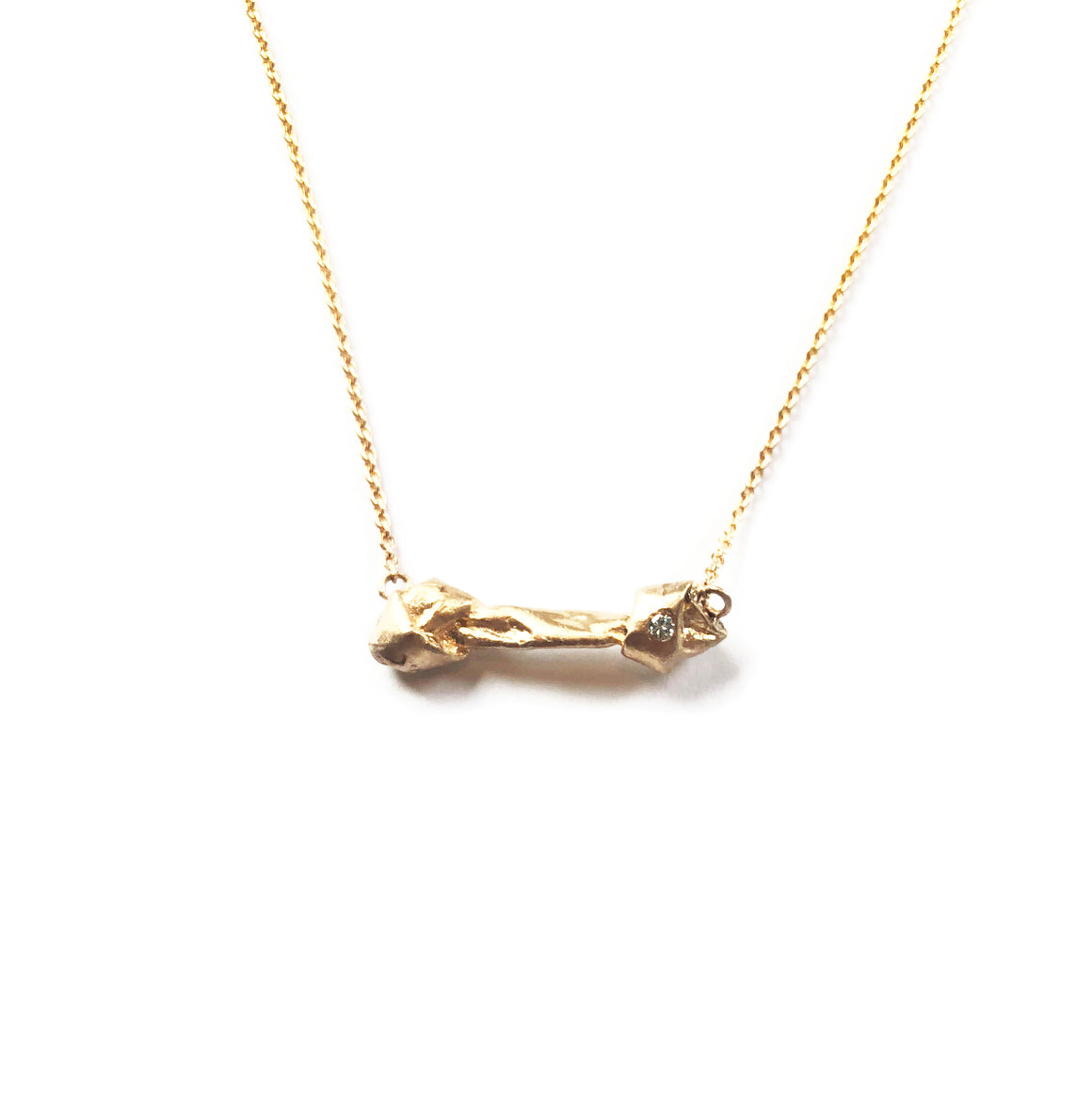 """Good to the Bone"" Diamond & 18K Gold Vermeil Necklace on Gold Vermeil Chain"