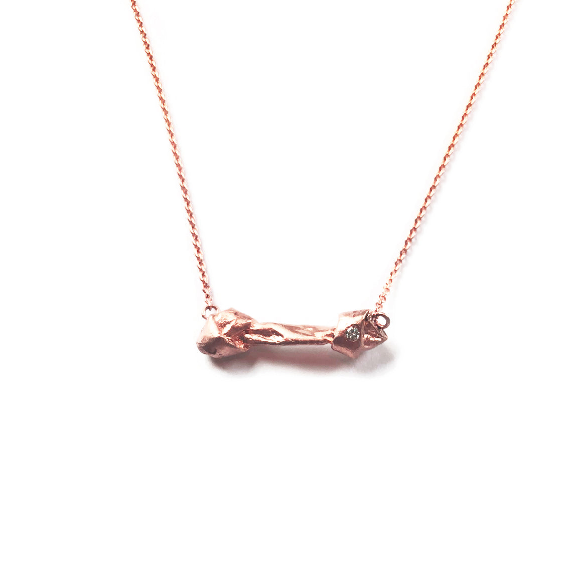 """Good to the Bone"" Diamond & 18K Rose Gold Vermeil Necklace on Rose Gold Vermeil Chain"