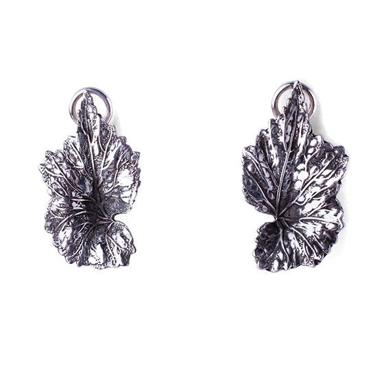 Leaf Clip Earrings with White Topaz Drops