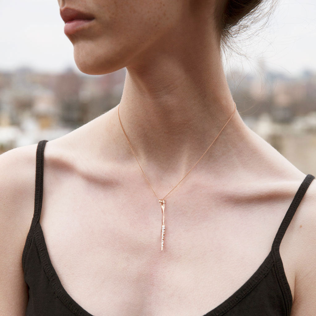 """Root for Us"" Diamond & 18K Rose Gold Vermeil Necklace on Rose Gold Vermeil Chain"