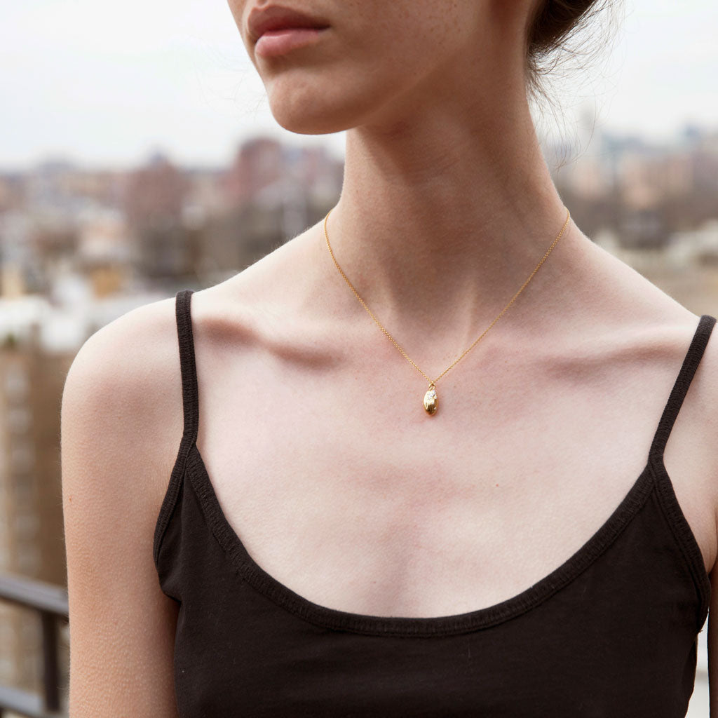 """We are Alm-ighty"" Diamond & 18K Rose Gold Vermeil Necklace on Rose Gold Vermeil Chain"