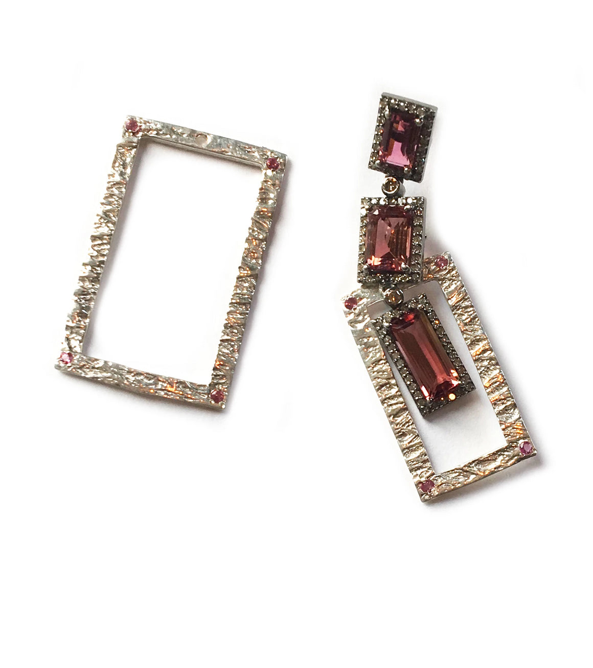 Pink Tourmaline Diamond Earrings