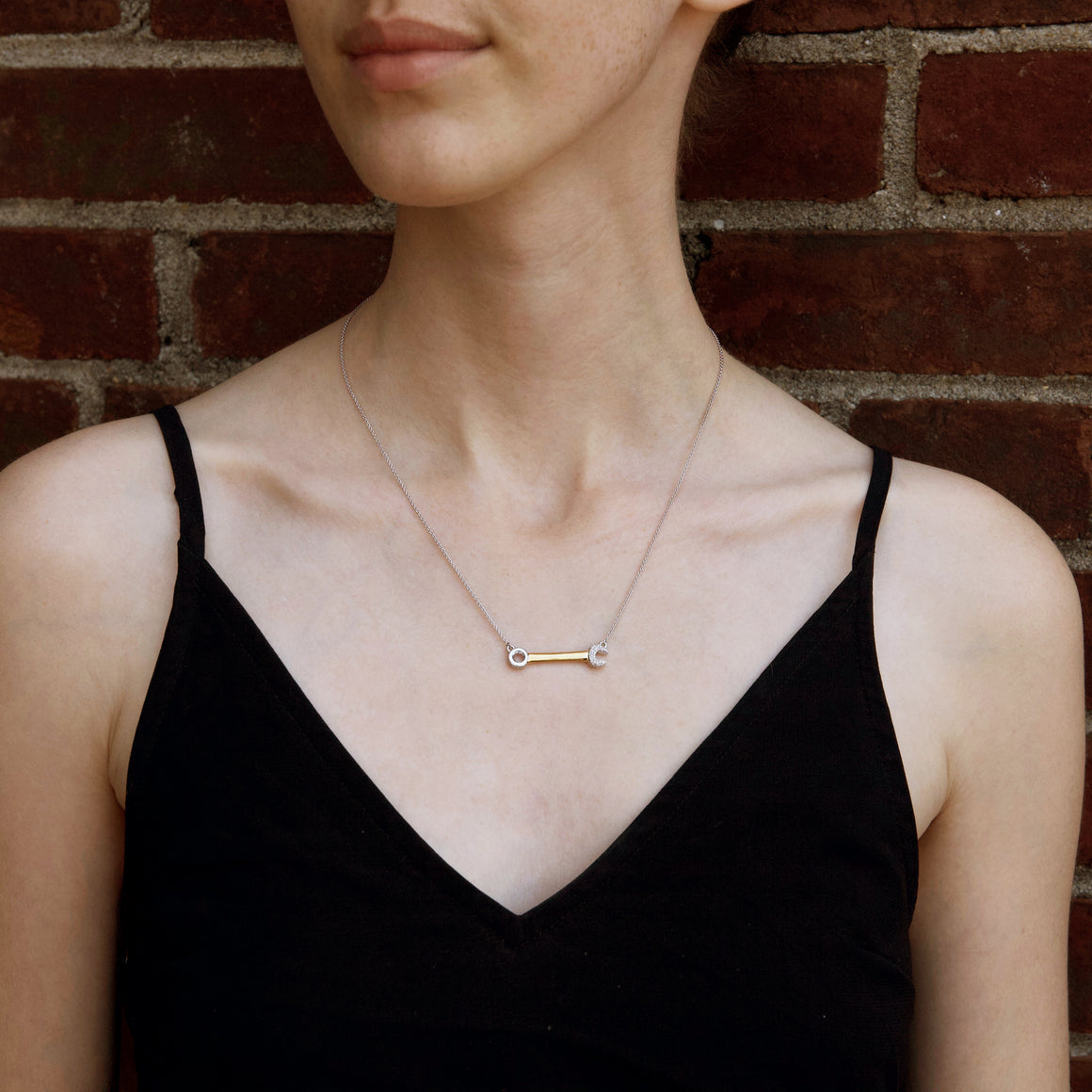 """Heart Wrenching"" Diamond & 23K Gold Vermeil Necklace on Gold Vermeil Chain"