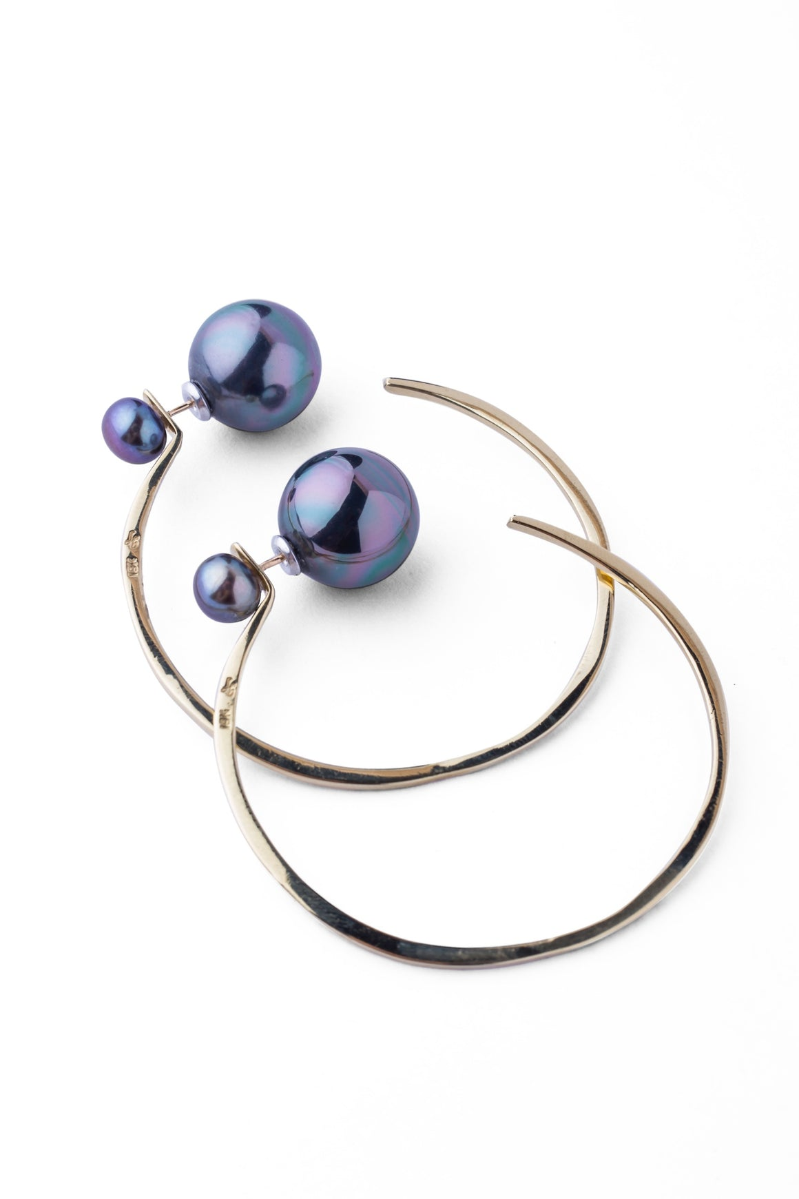 Pearl Message Hoop Earrings