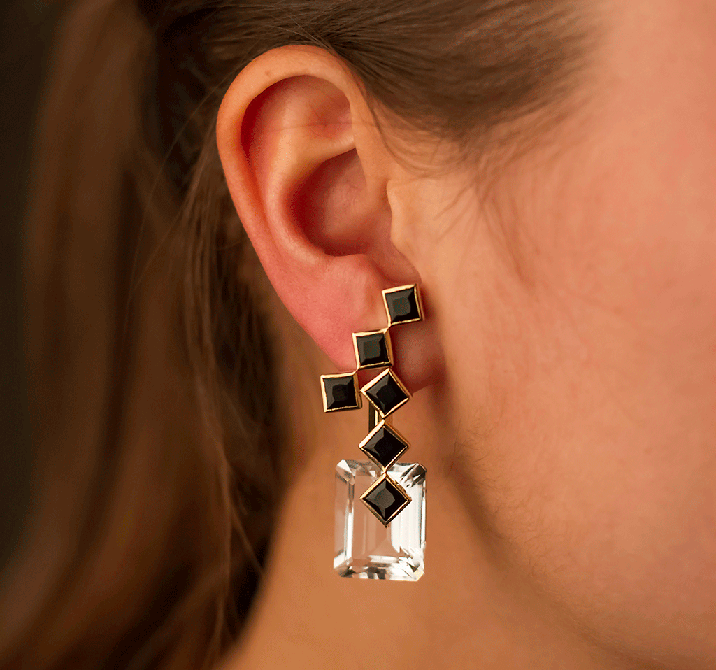 Black Onyx 57th Street Earrings with White Topaz Drops