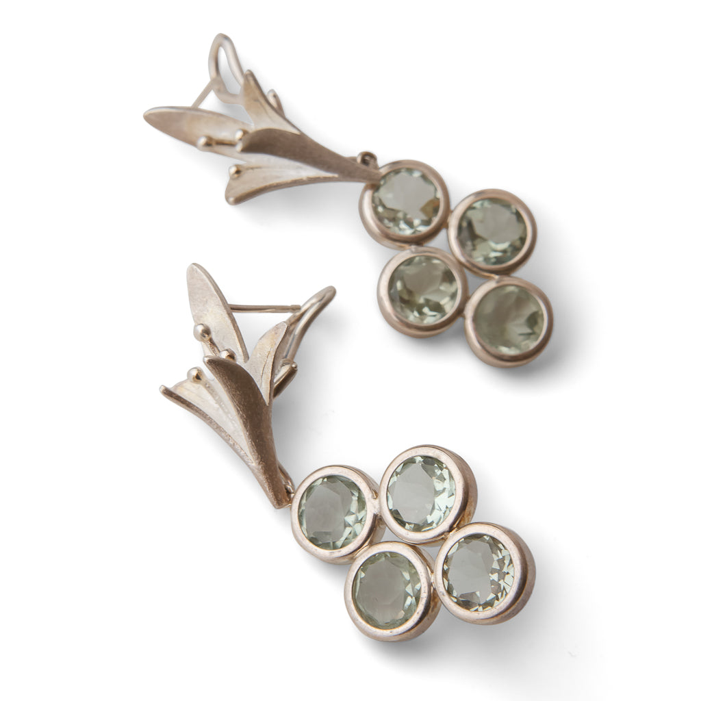 Jasmine Earrings with Detachable Green Amethyst Drops