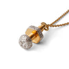 """FastenHer"" Diamond & 23k Gold Vermeil Necklace on Gold Chain"