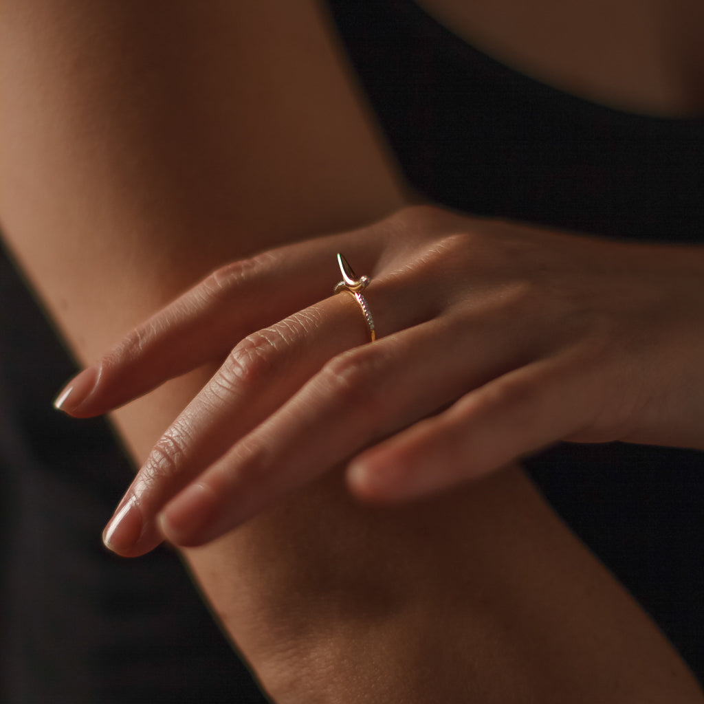 """A-Peel to Equality"" Diamond & 23K Gold Vermeil Ring"
