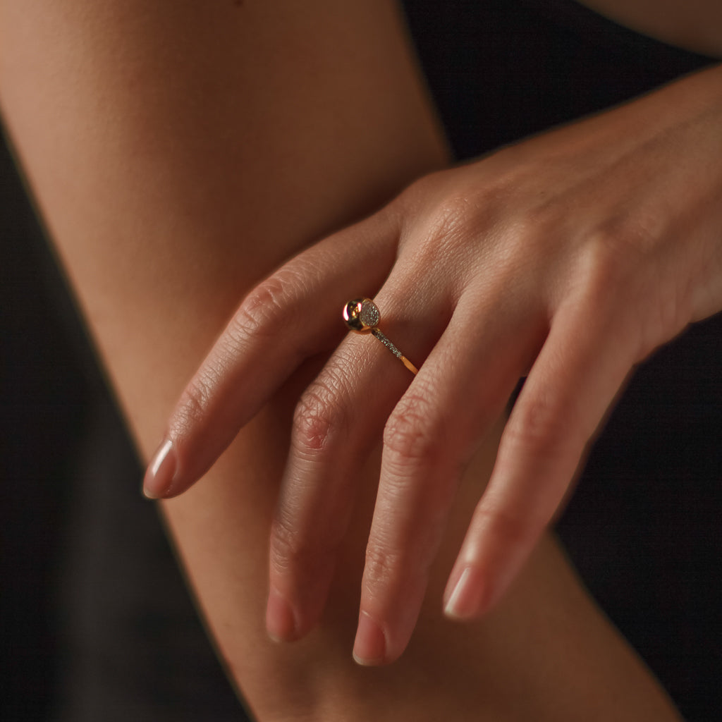 """Equal to the Core"" Diamond & 23K Gold Vermeil Ring"