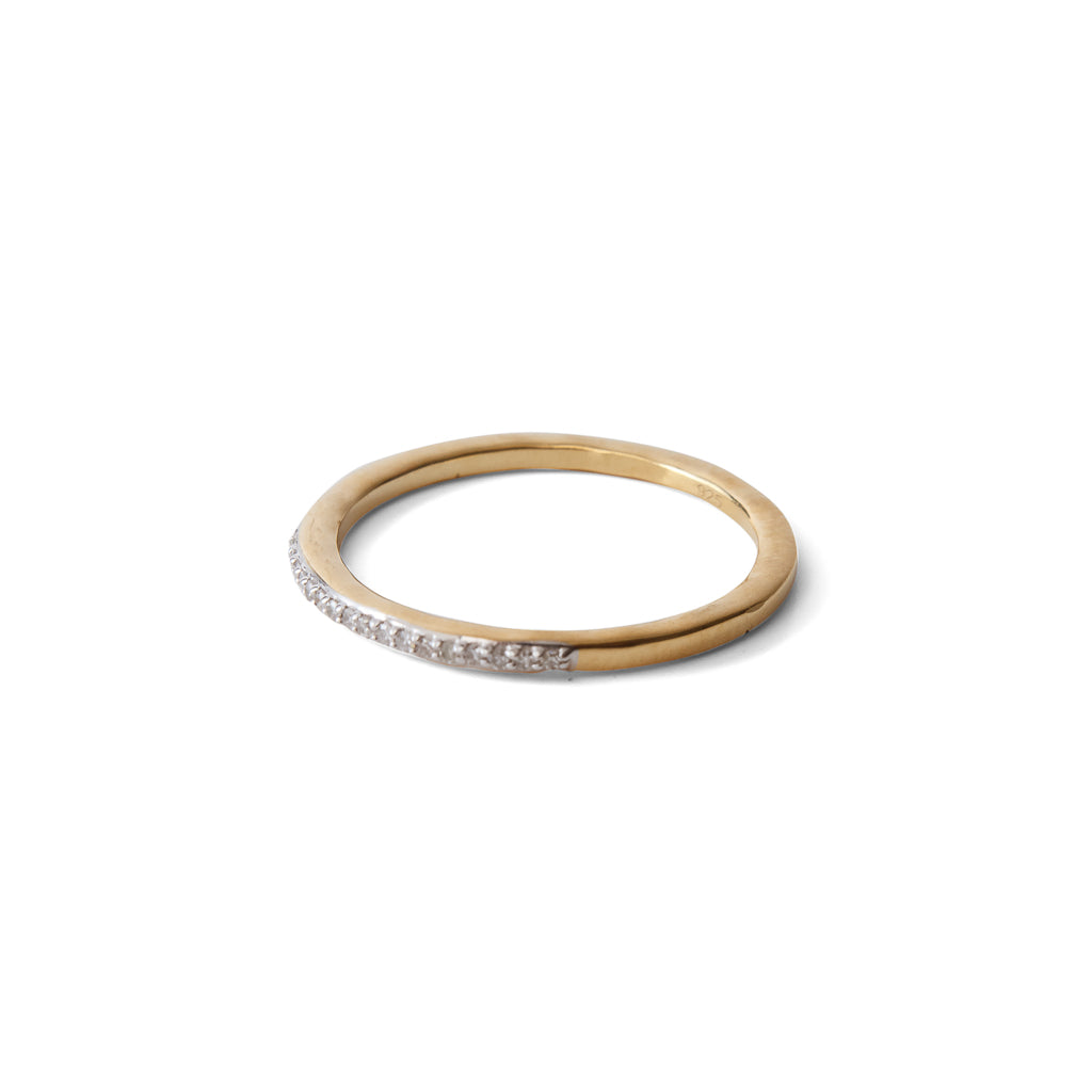 Pavé Diamond & 23K Gold Vermeil Stackable Ring