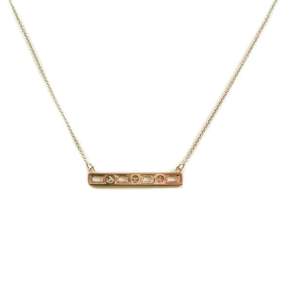 """Level the Playing Field"" Diamond & 18K Gold Vermeil Necklace on Gold Vermeil Chain"
