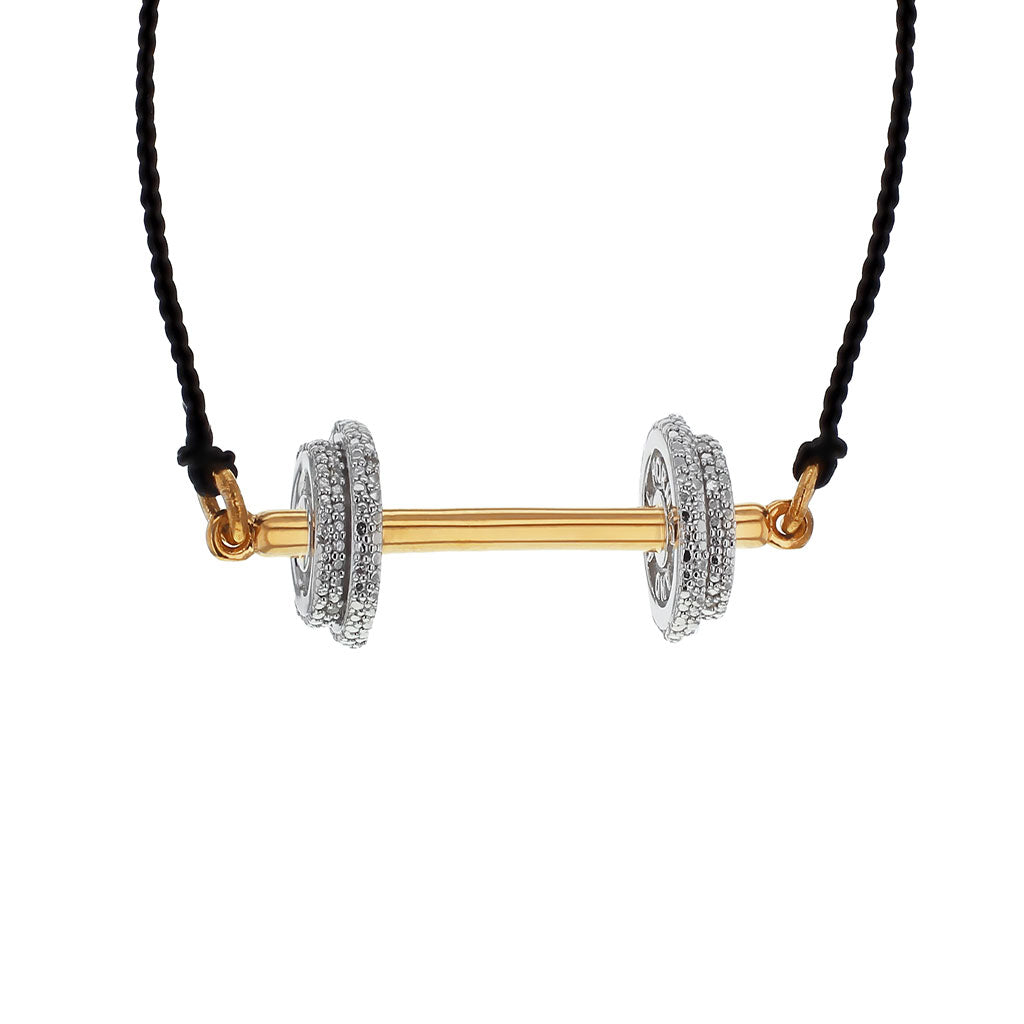 """Do the Heavy Lifting"" Diamond & 23K Gold Vermeil Necklace on Black Silk Cord"