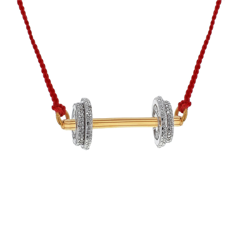 """Do the Heavy Lifting"" Diamond & 23K Gold Vermeil Necklace on Red Silk Cord"