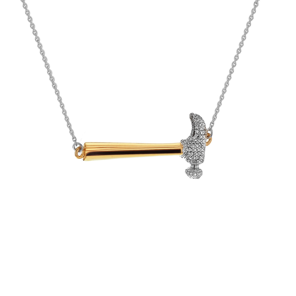 """Secure the Future"" Diamond & 23K Gold Vermeil Necklace on Silver Chain"
