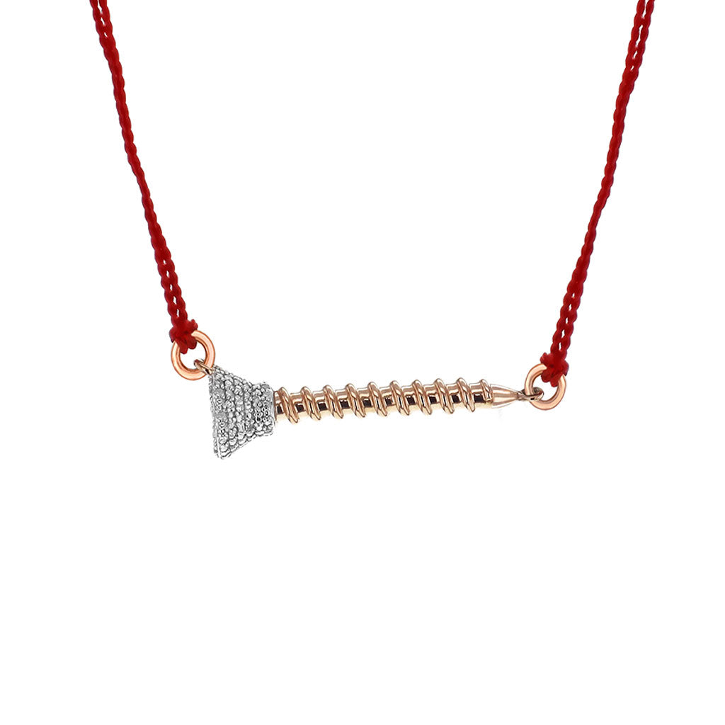 """Nuts & Bolts of Giving"" Diamond & 18K Rose Gold Vermeil Necklace on Red Silk Cord"