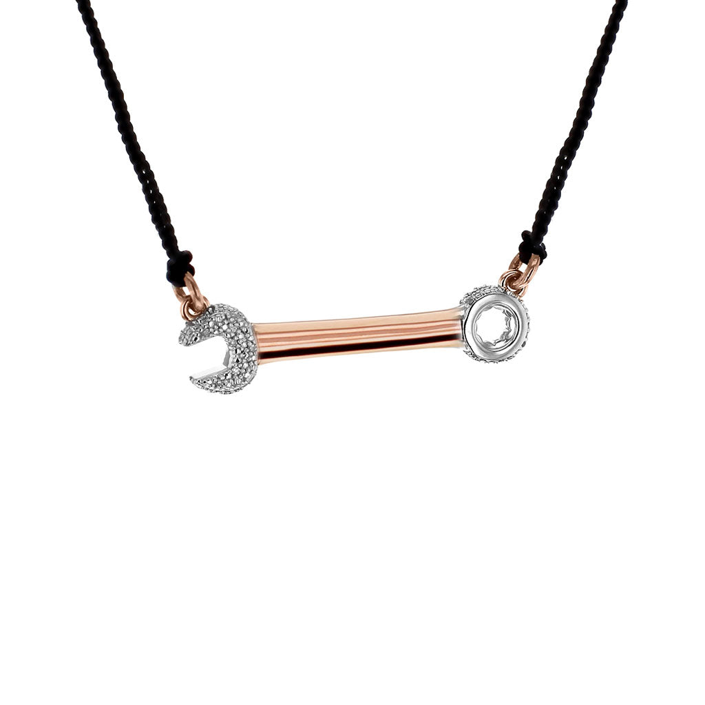 """Crank it Up"" Diamond & 18K Rose Gold Vermeil Necklace on Black Silk Cord"