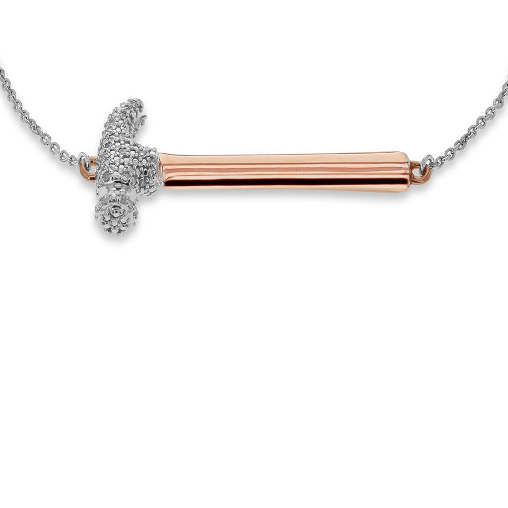 """Hammer Home Your Message"" Diamond & 18K Rose Gold Vermeil Bracelet on Adjustable Silver Chain"
