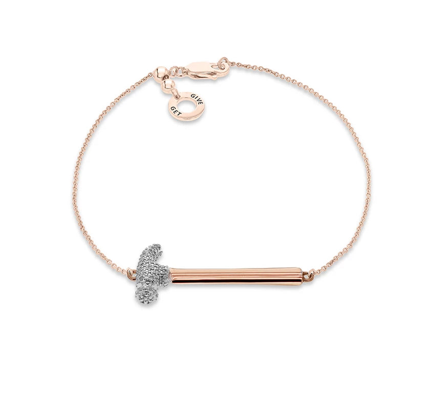 """Hammer Home Your Message"" Diamond & 18K Rose Gold Vermeil Bracelet on Adjustable Rose Gold Vermeil Chain"