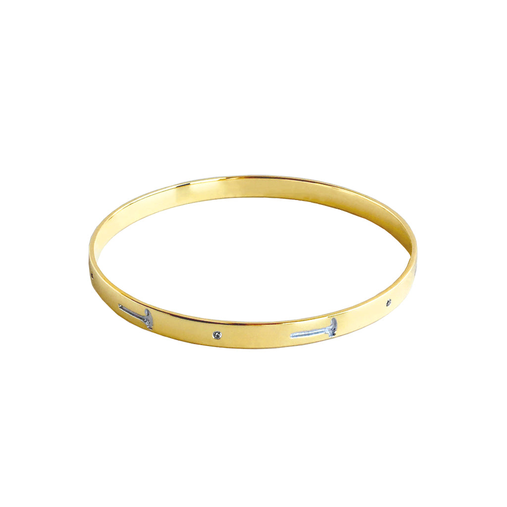 """Hammer Home Your Message"" Diamond & 18K Gold Vermeil Bangle"