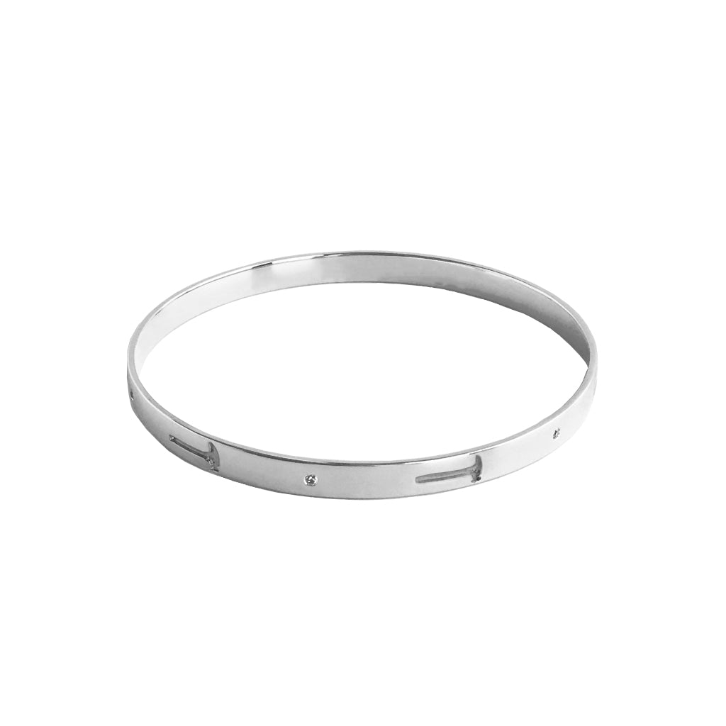 """Hammer Home Your Message"" Diamond & Sterling Silver Bangle"
