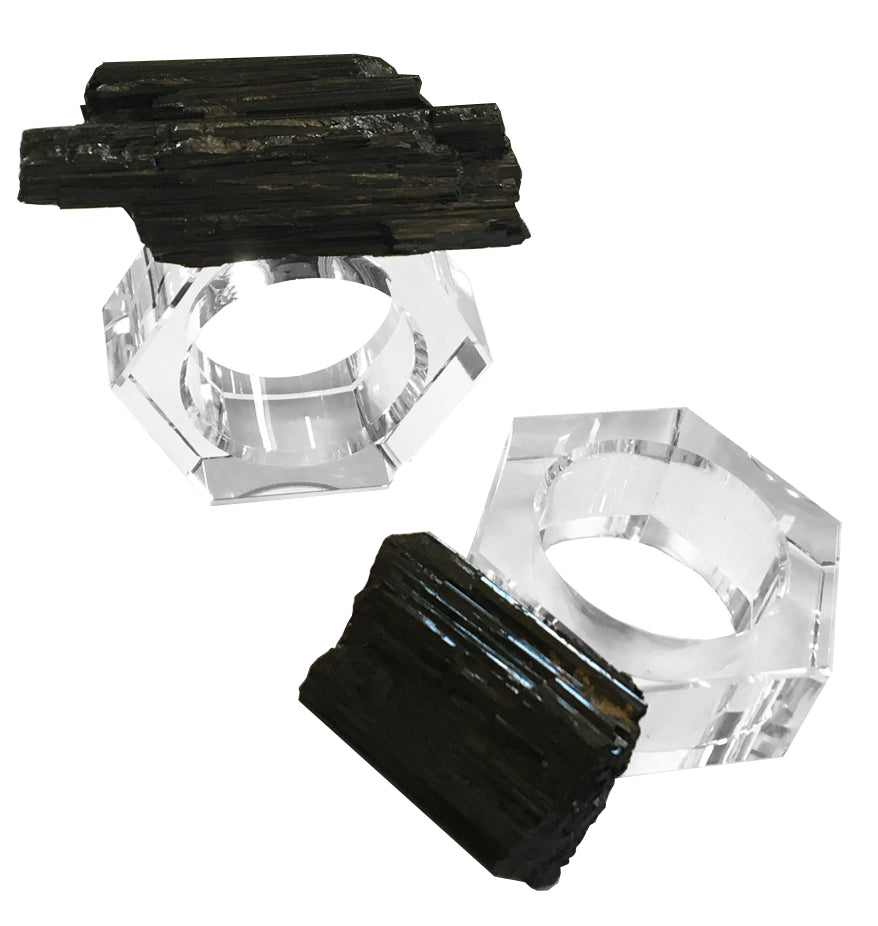 4 Piece Raw Tourmaline & Crystal Napkin Ring Set
