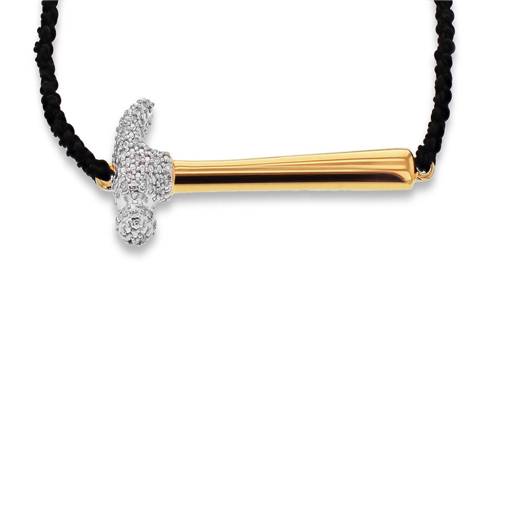 """Hammer Home Your Message"" Diamond & 18K Gold Vermeil Bracelet on Adjustable Black Silk Cord"