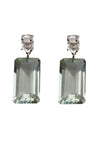 Herkimer Diamond Earrings with Green Amethyst Drops